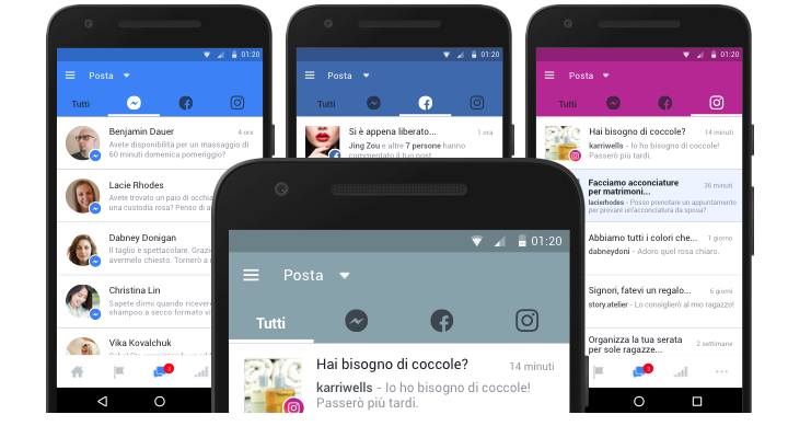 Facebook, Messenger e Instagram: una casella di posta unica per tre canali